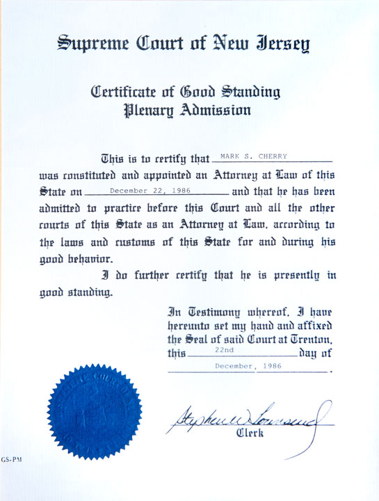 Certificate of Good Standing Plenary Admission